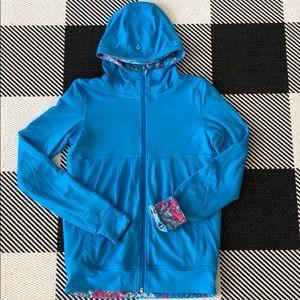 Ivivva reversibile jacket solid blue/ blue pink